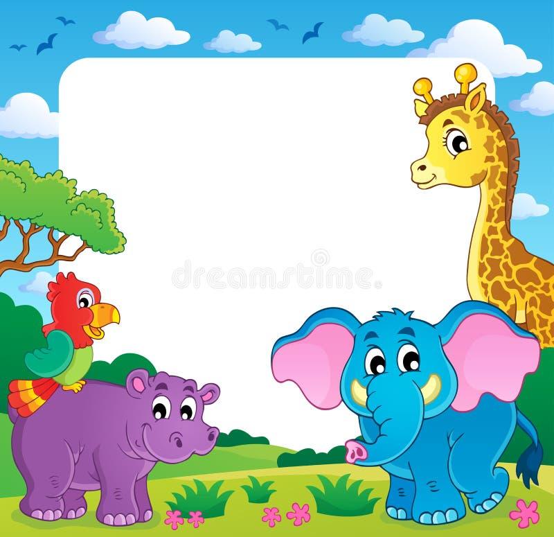Πλαίσιο με την αφρικανική πανίδα 1 διανυσματική απεικόνιση