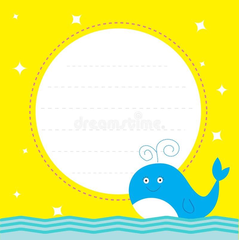 Πλαίσιο με τη χαριτωμένη φάλαινα και τα σπινθηρίσματα κινούμενων σχεδίων. Χρόνια πολλά κόμμα απεικόνιση αποθεμάτων