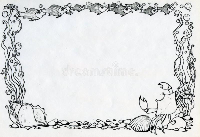 Πλαίσιο με το καβούρι, τα ψάρια και τα άλγη ελεύθερη απεικόνιση δικαιώματος