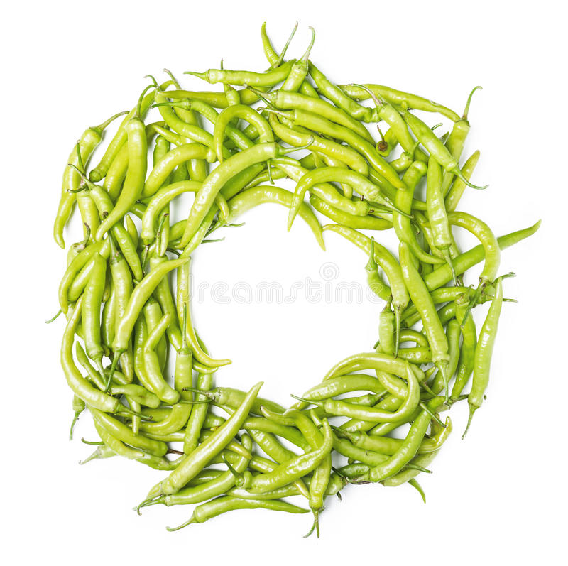 Πλαίσιο με το πράσινο καψικό chilis annuum στοκ εικόνες