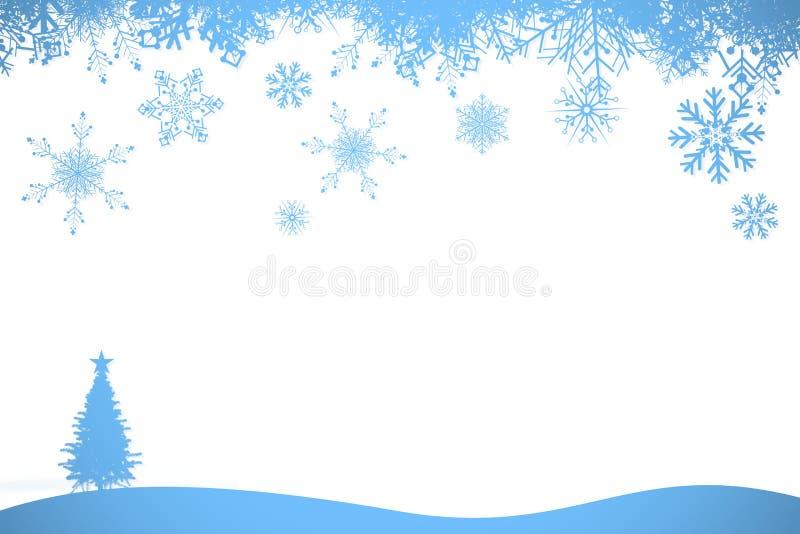 Πλαίσιο νιφάδων χιονιού στο μπλε διανυσματική απεικόνιση