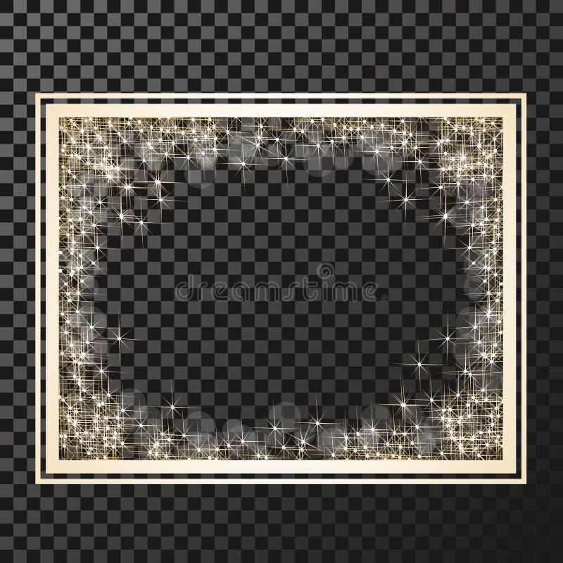 Πλαίσιο ορθογωνίων με τα χρυσά αστέρια στο υπόβαθρο διαφάνειας, χρυσά σύμβολα σπινθηρισμάτων - το αστέρι ακτινοβολεί, αστρική φλό διανυσματική απεικόνιση