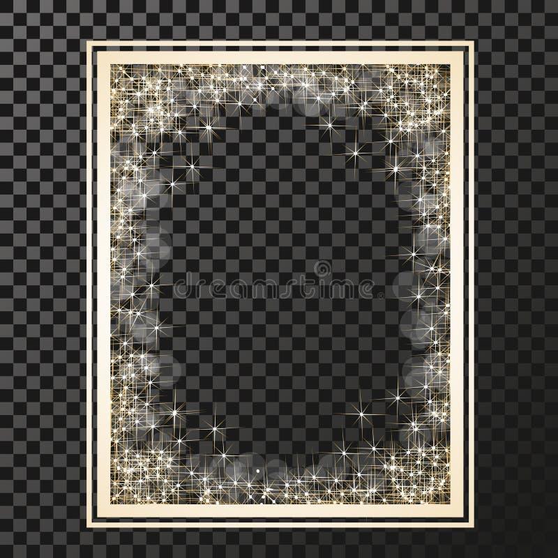 Πλαίσιο ορθογωνίων με τα χρυσά αστέρια στο υπόβαθρο διαφάνειας, χρυσά σύμβολα σπινθηρισμάτων - το αστέρι ακτινοβολεί, αστρική φλό απεικόνιση αποθεμάτων