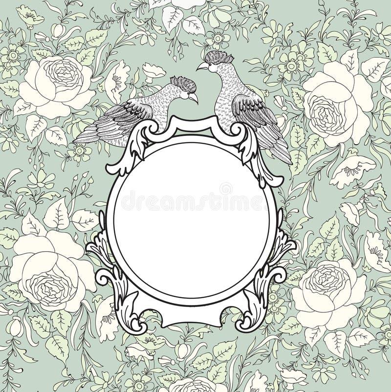 Πλαίσιο πέρα από το υπόβαθρο λουλουδιών Σύνορα Veniette με το πουλί Decorat διανυσματική απεικόνιση