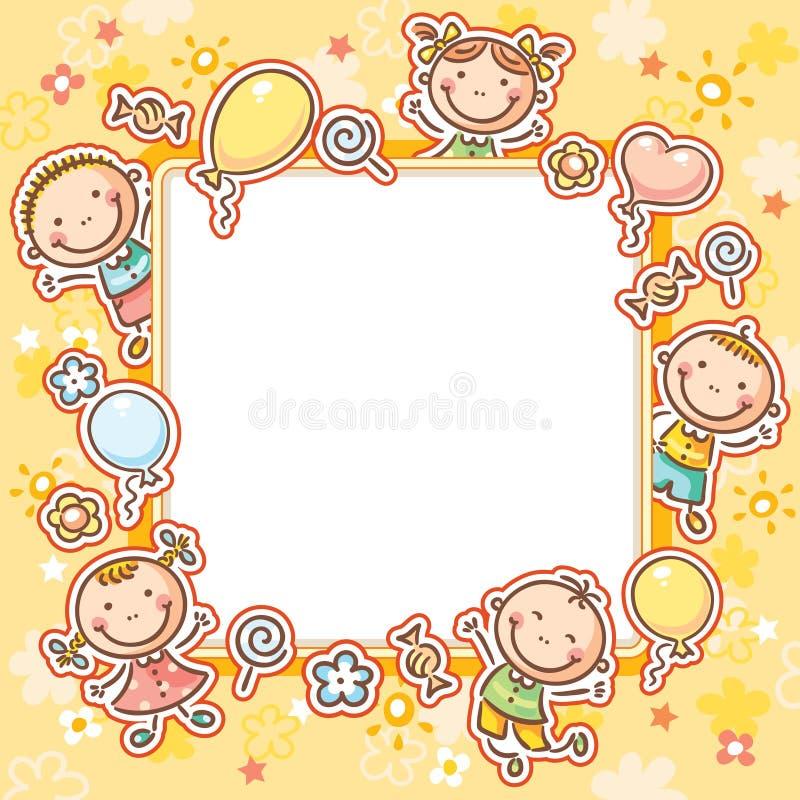 Πλαίσιο παιδιών με τα γλυκά και τα μπαλόνια ελεύθερη απεικόνιση δικαιώματος