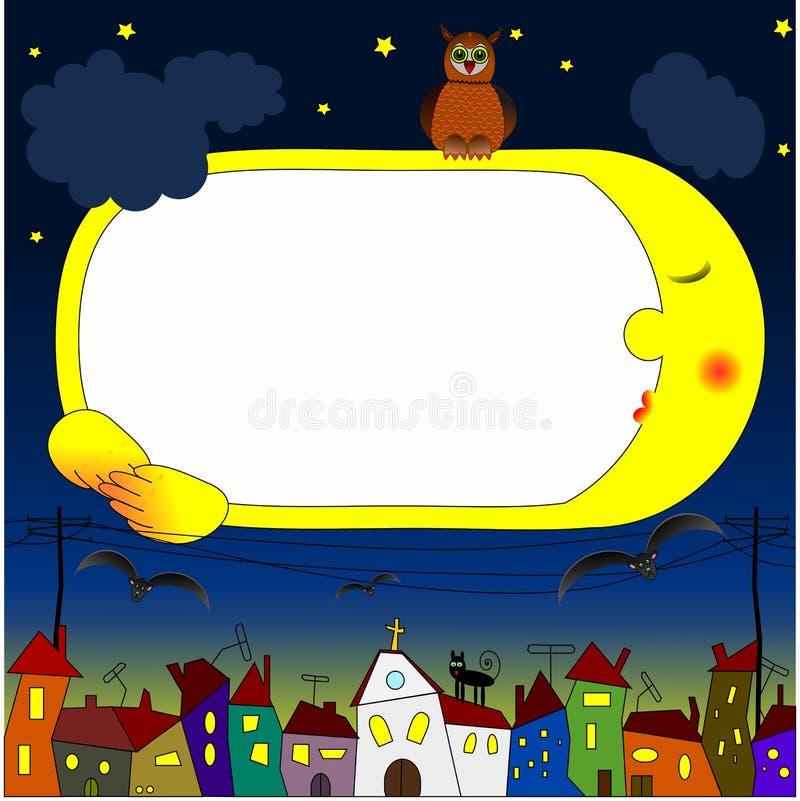 Πλαίσιο παιδιών με το νυχτερινό ουρανό στοκ εικόνες
