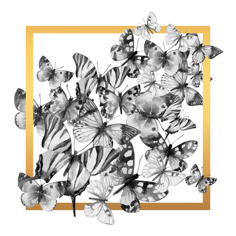 Πλαίσιο πεταλούδων Watercolor ελεύθερη απεικόνιση δικαιώματος