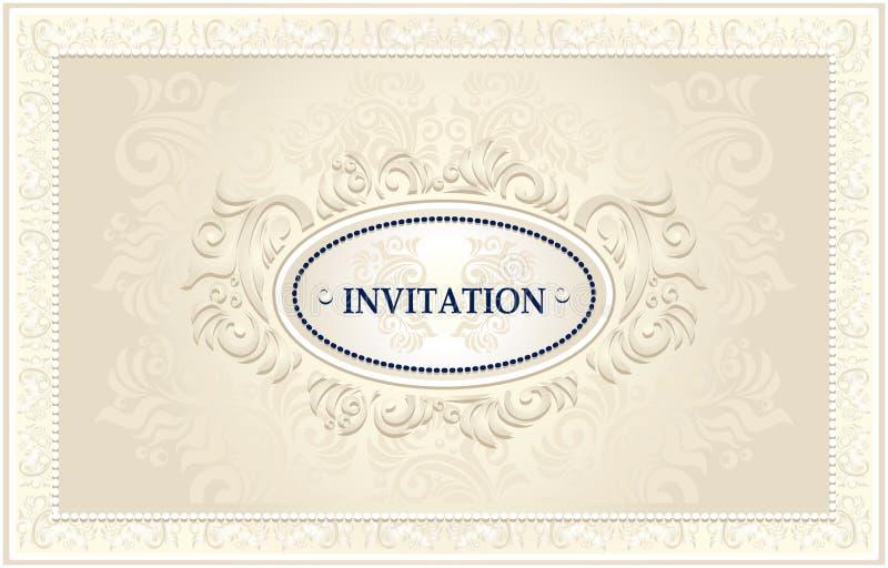 Πλαίσιο πρόσκλησης ή γάμου με το Floral υπόβαθρο ελεύθερη απεικόνιση δικαιώματος