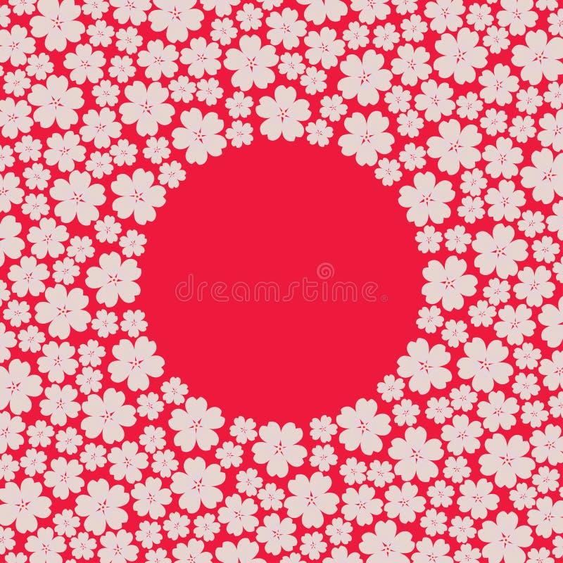 Πλαίσιο συνόρων κύκλων με πολλούς που επαναλαμβάνουν τα διαφορετικά μεγέθους λουλούδια κερασιών άνοιξη διανυσματική απεικόνιση