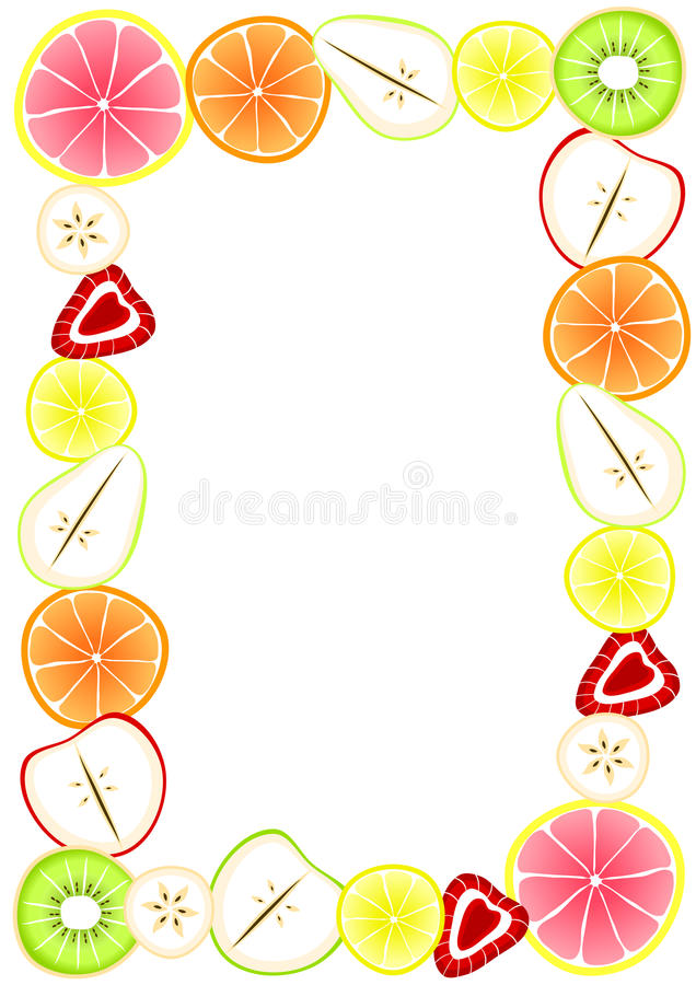 Πλαίσιο συνόρων με τα τεμαχισμένα φρούτα ελεύθερη απεικόνιση δικαιώματος