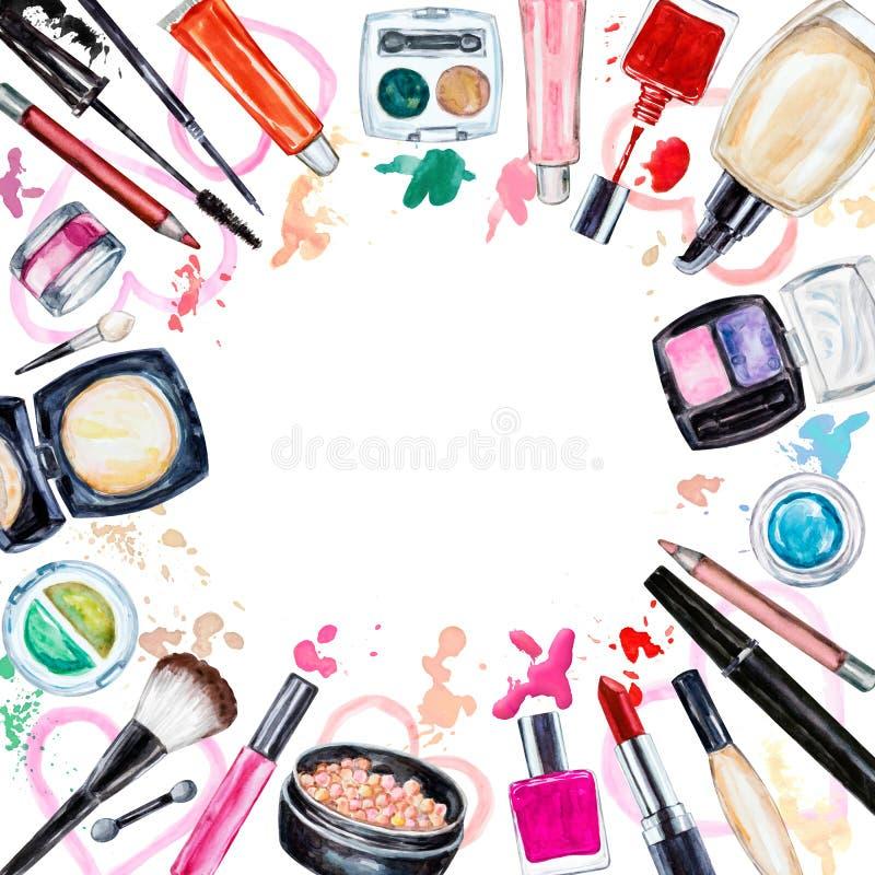 Πλαίσιο του διακοσμητικού καλλυντικού διάφορου watercolor Προϊόντα Makeup ελεύθερη απεικόνιση δικαιώματος