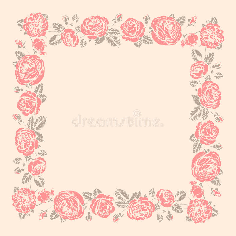 Πλαίσιο τριαντάφυλλων διάτρητο διανυσματική απεικόνιση
