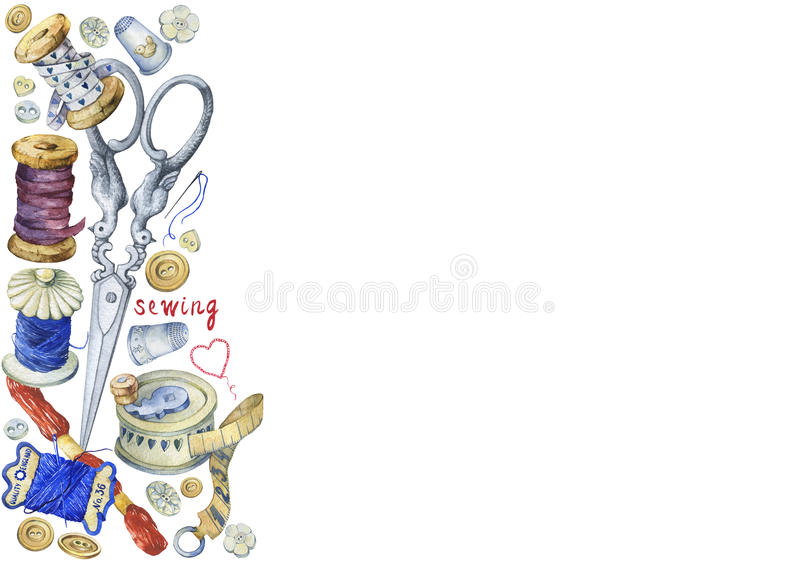 Πλαίσιο των διάφορων εκλεκτής ποιότητας αντικειμένων για το ράψιμο, τη βιοτεχνία και χειροποίητος απεικόνιση αποθεμάτων