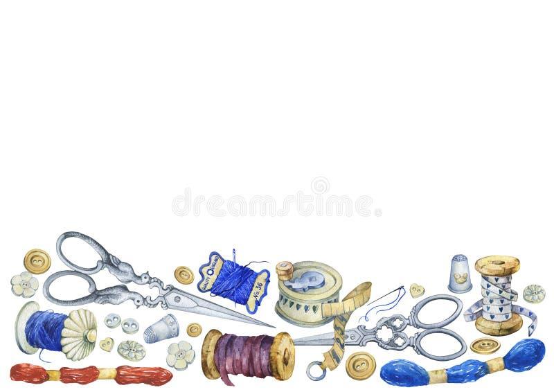 Πλαίσιο των διάφορων εκλεκτής ποιότητας αντικειμένων για το ράψιμο, τη βιοτεχνία και χειροποίητος διανυσματική απεικόνιση