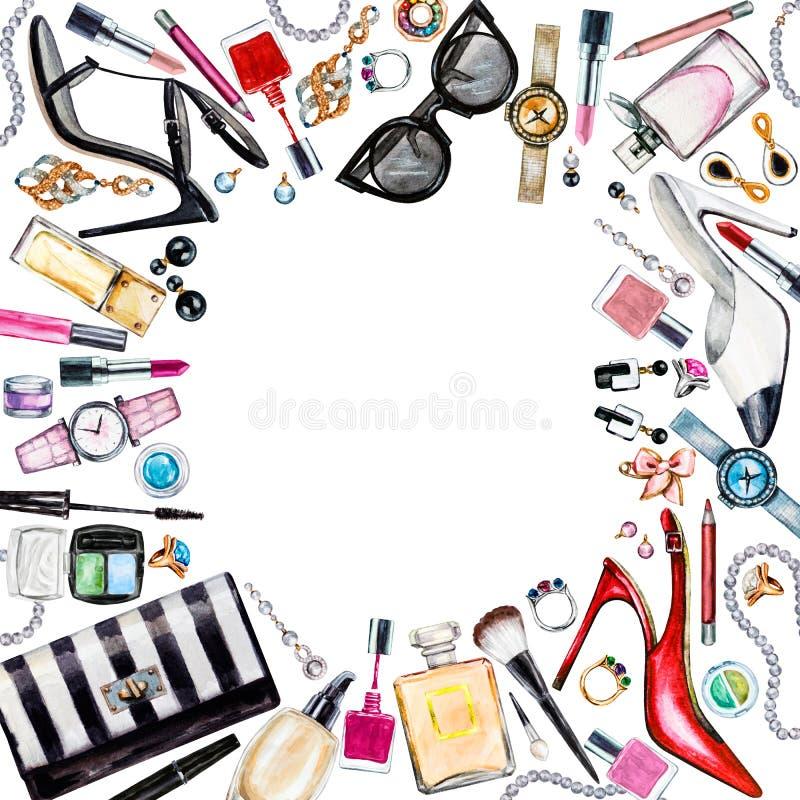 Πλαίσιο των διάφορων θηλυκών εξαρτημάτων watercolor Προϊόντα Makeup απεικόνιση αποθεμάτων