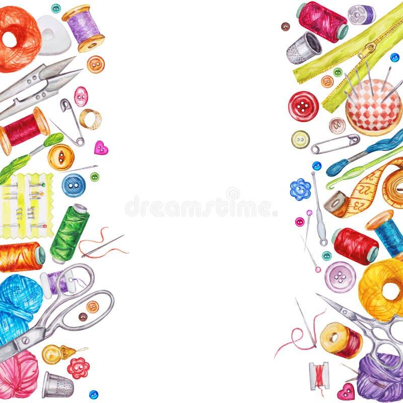 Πλαίσιο των διάφορων ράβοντας εργαλείων watercolor ράβοντας δακτυλήθρα βελόνων εξαρτήσεων βαμβακιού απεικόνιση αποθεμάτων