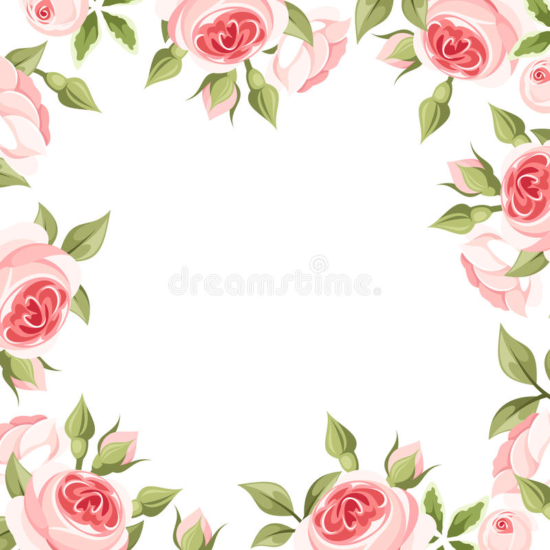 Πλαίσιο υποβάθρου με τα ρόδινα τριαντάφυλλα επίσης corel σύρετε το διάνυσμα απεικόνισης διανυσματική απεικόνιση