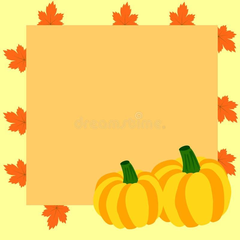 Πλαίσιο φθινοπώρου με τις κολοκύθες και τα φύλλα σφενδάμου διανυσματική απεικόνιση