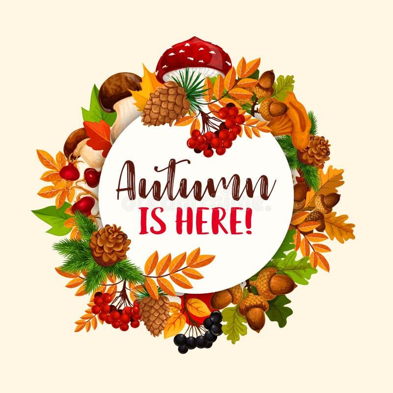Πλαίσιο φθινοπώρου του πεσμένου φύλλου, φρούτα, μανιτάρι ελεύθερη απεικόνιση δικαιώματος