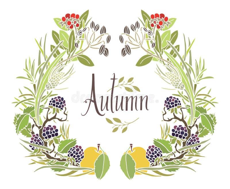Πλαίσιο φθινοπώρου των φύλλων, των κλαδίσκων και των μήλων ελεύθερη απεικόνιση δικαιώματος