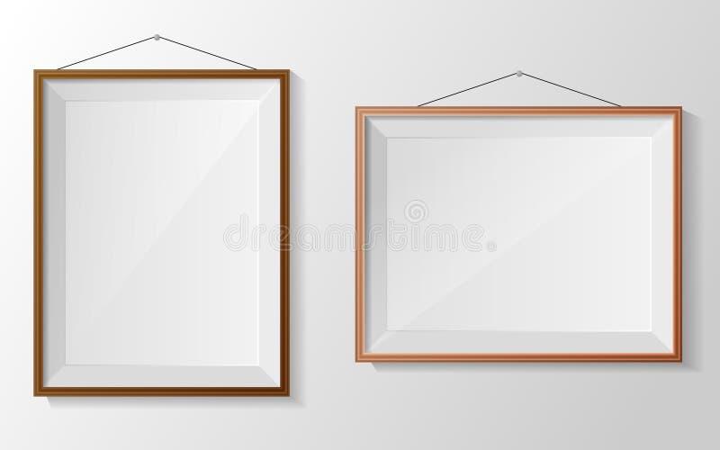 Πλαίσιο φωτογραφιών στον άσπρο τοίχο απεικόνιση αποθεμάτων