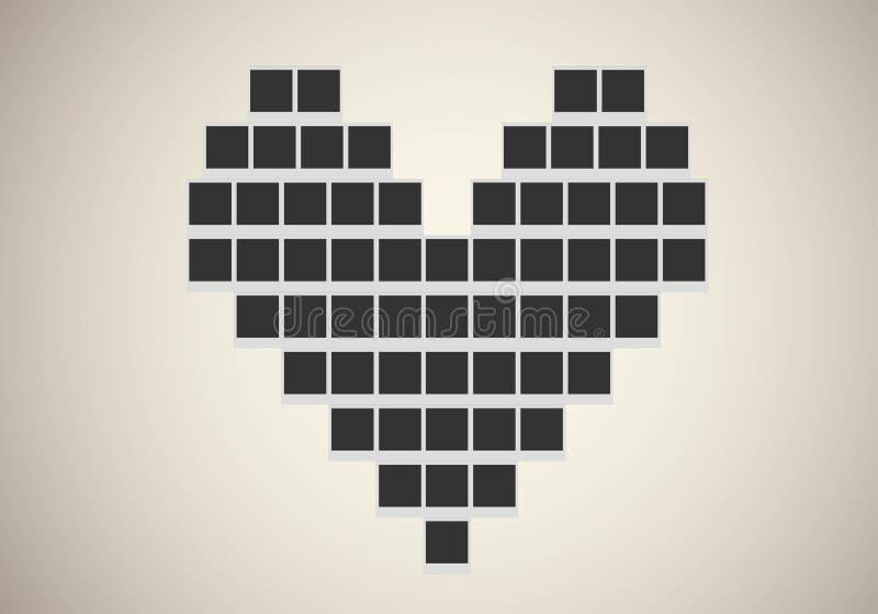 Πλαίσιο φωτογραφιών Polaroid στη μορφή καρδιών διανυσματική απεικόνιση