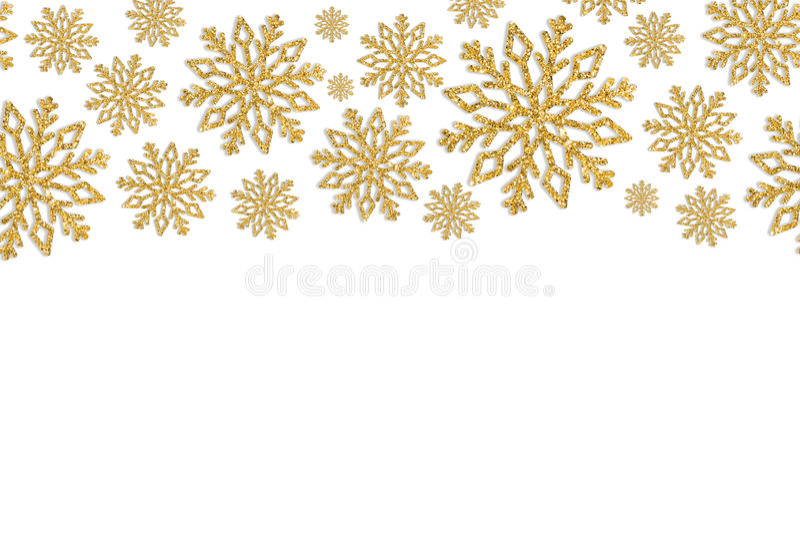 Πλαίσιο Χριστουγέννων με χρυσά snowflakes Σύνορα του κομφετί τσεκιών στοκ φωτογραφίες