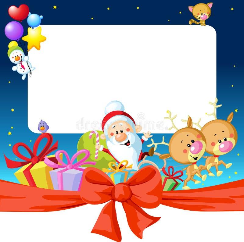 Πλαίσιο Χριστουγέννων νύχτας με Άγιο Βασίλη, τον τάρανδο και το χιονάνθρωπο απεικόνιση αποθεμάτων