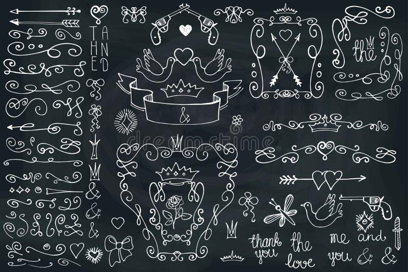 Πλαίσιο Doodle, βέλη, ομάδα, στοιχείο ντεκόρ Αγάπη διανυσματική απεικόνιση