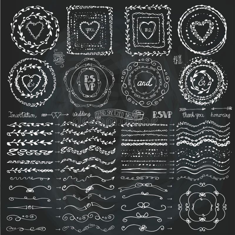 Πλαίσιο Doodle, βούρτσες, σύνολο ντεκόρ στεφανιών chalkboard απεικόνιση αποθεμάτων