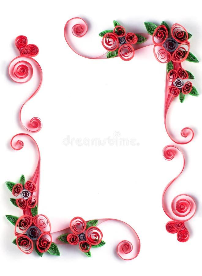 Πλαίσιο Quilling με το λουλούδι εγγράφου στοκ εικόνες