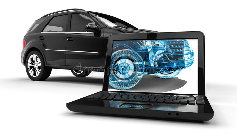 Πλαίσιο SUV καλωδίων lap-top ελεύθερη απεικόνιση δικαιώματος