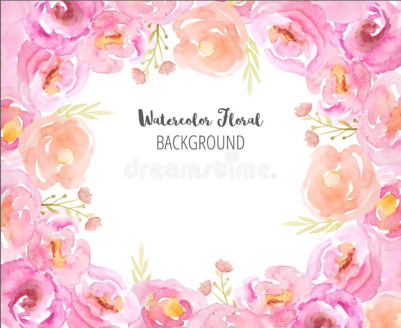 Πλαίσιο Watercolor με τα ρόδινα λουλούδια και τα φύλλα