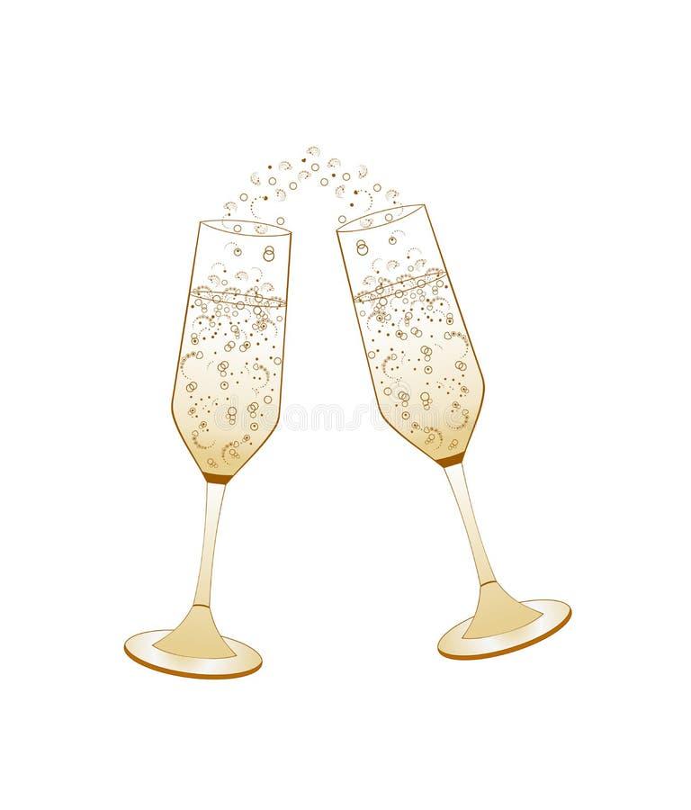 πλαισιωμένα σαμπάνια γυαλιά που καλύπτονται οριζόντια Χρυσός γαμήλιος εορτασμός ελεύθερη απεικόνιση δικαιώματος