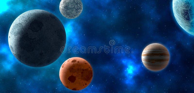 Πλανήτες πέρα από τα νεφελώματα στο διάστημα διανυσματική απεικόνιση
