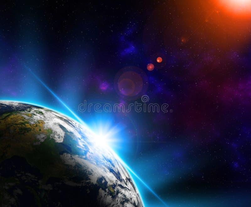 Πλανήτης Γη από το διαστημικούς τη νύχτα ήλιο και τα αστέρια οριζόντων διανυσματική απεικόνιση