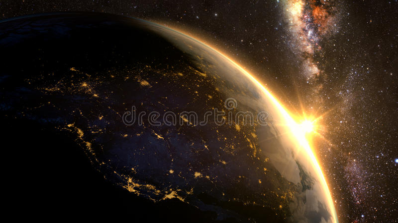 Πλανήτης Γη με μια θεαματική ανατολή, στοκ εικόνες