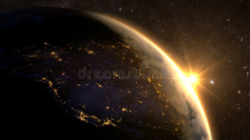 Πλανήτης Γη με μια θεαματική ανατολή, στοκ φωτογραφία με δικαίωμα ελεύθερης χρήσης