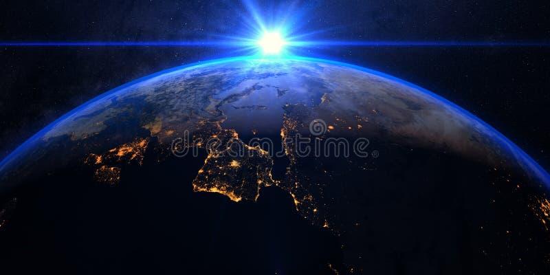 Πλανήτης Γη με μια θεαματική ανατολή στοκ φωτογραφία με δικαίωμα ελεύθερης χρήσης