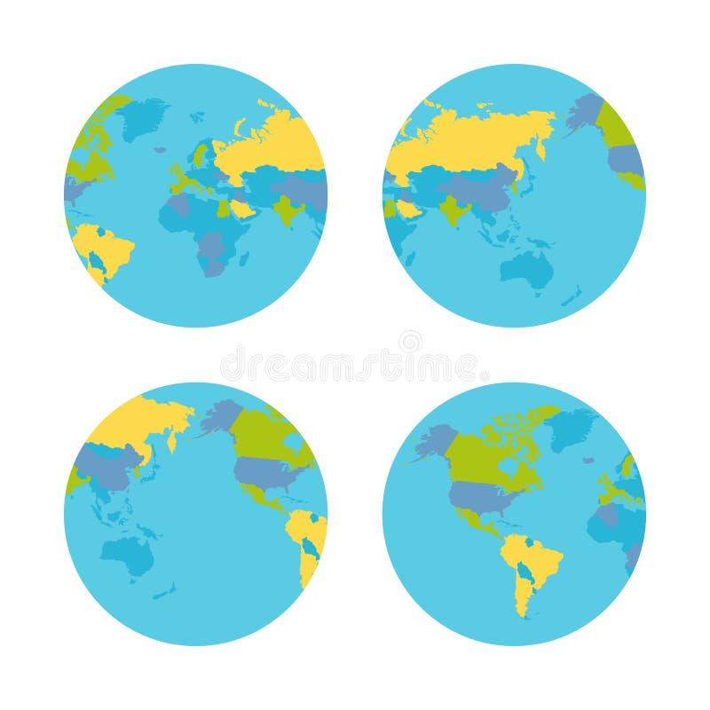 Πλανήτης Γη με τη διανυσματική απεικόνιση χωρών ελεύθερη απεικόνιση δικαιώματος