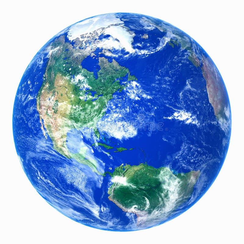 Ρεαλιστικός πλανήτης Γη στο άσπρο υπόβαθρο απεικόνιση αποθεμάτων