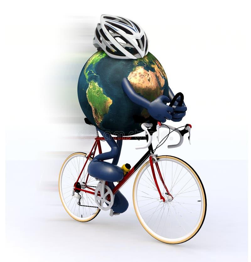 Πλανήτης Γη που οδηγά ένα ποδήλατο αγώνα διανυσματική απεικόνιση