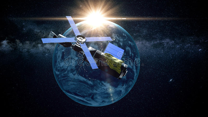 Πλανήτης Γη όπως βλέπει από το διάστημα Με το υπόβαθρο αστεριών τρισδιάστατη απόδοση ελεύθερη απεικόνιση δικαιώματος