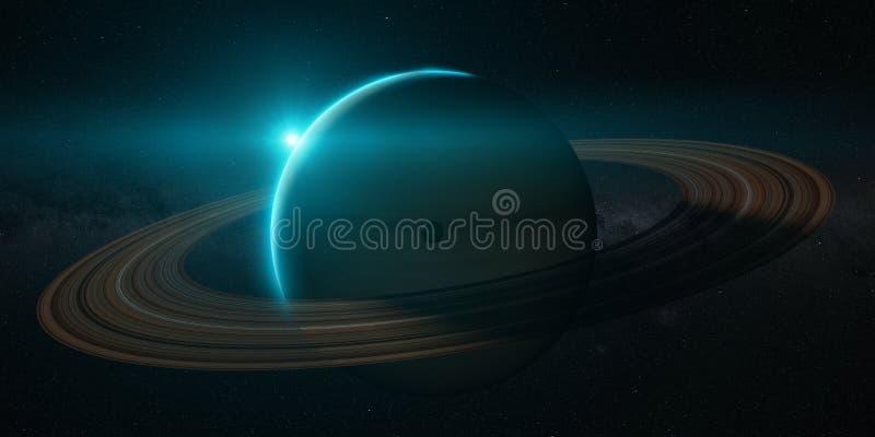 Πλανήτης Κρόνος με τα δαχτυλίδια στην ανατολή διανυσματική απεικόνιση