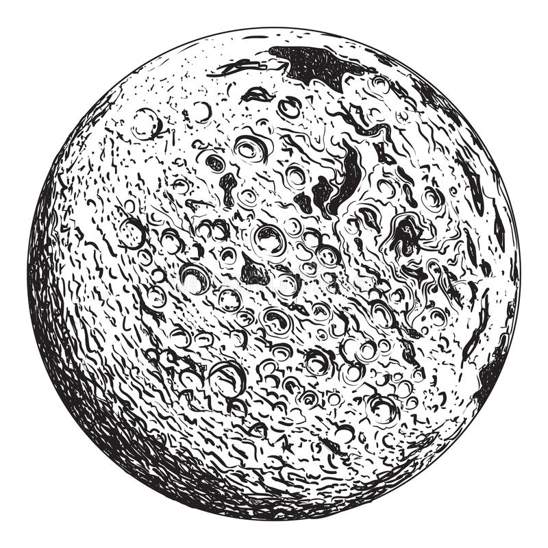 Πλανήτης πανσελήνων με τους σεληνιακούς κρατήρες διανυσματική απεικόνιση