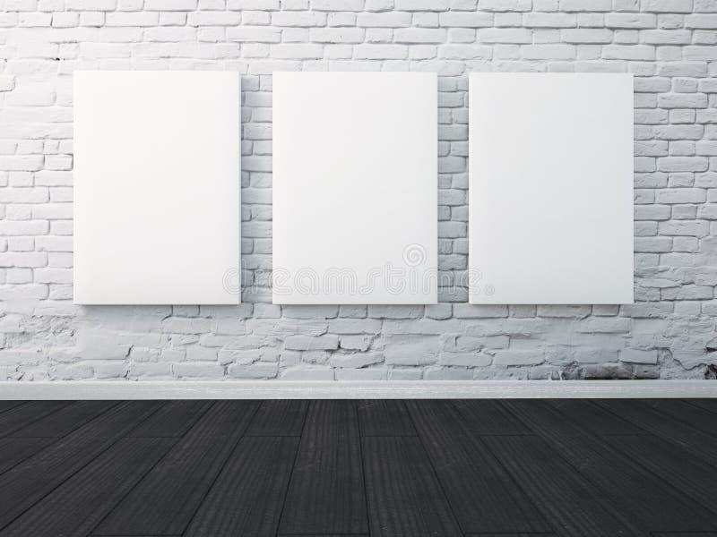 Πλαστή επάνω πλαισιωμένη αφίσα στο χρωματισμένο τοίχο στο εσωτερικό διανυσματική απεικόνιση