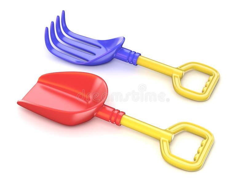 Πλαστικές φτυάρι και τσουγκράνα παιχνιδιών τρισδιάστατος διανυσματική απεικόνιση