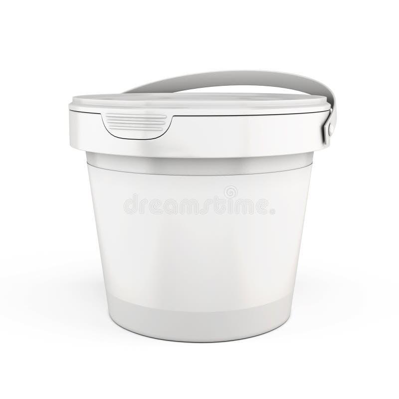 Πλαστικοί κάδοι προτύπων σε ένα λευκό τρισδιάστατος διανυσματική απεικόνιση