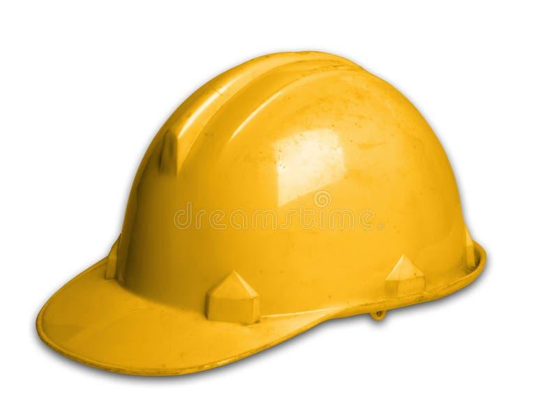 Πλαστικό καπέλο ασφάλειας κρανών στο υπόβαθρο μορίων στοκ φωτογραφίες