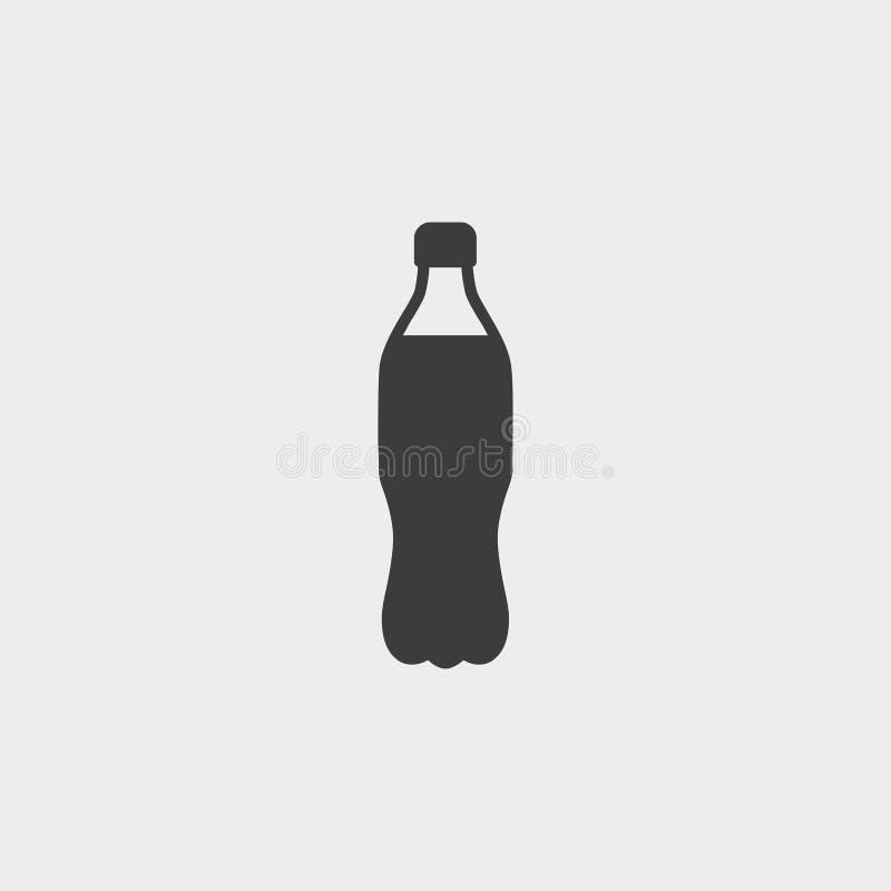 Πλαστικό μπουκάλι με το εικονίδιο ποτών σε ένα επίπεδο σχέδιο στο μαύρο χρώμα Διανυσματική απεικόνιση EPS10 διανυσματική απεικόνιση